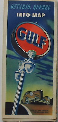 Vintage 1940's Gulf Oil Map of Ontario & Quebec