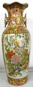 ORIENTAL HAND CRAFTED XL VASE - Bird Design #3