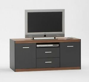 tv regal ablage lowboard tv618 anthrazit nussbaum ebay. Black Bedroom Furniture Sets. Home Design Ideas