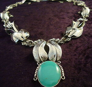 TAXCO-MEXICAN-950-SILVER-TURQUOISE-CALLA-LILY-FLORAL-FLOWER-NECKLACE-MEXICO