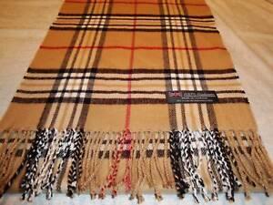 100-Cashmere-Scarf-LONG-72X12-Made-in-Scotland-Tan-Beige-Camel-Check-Nova-Plaid