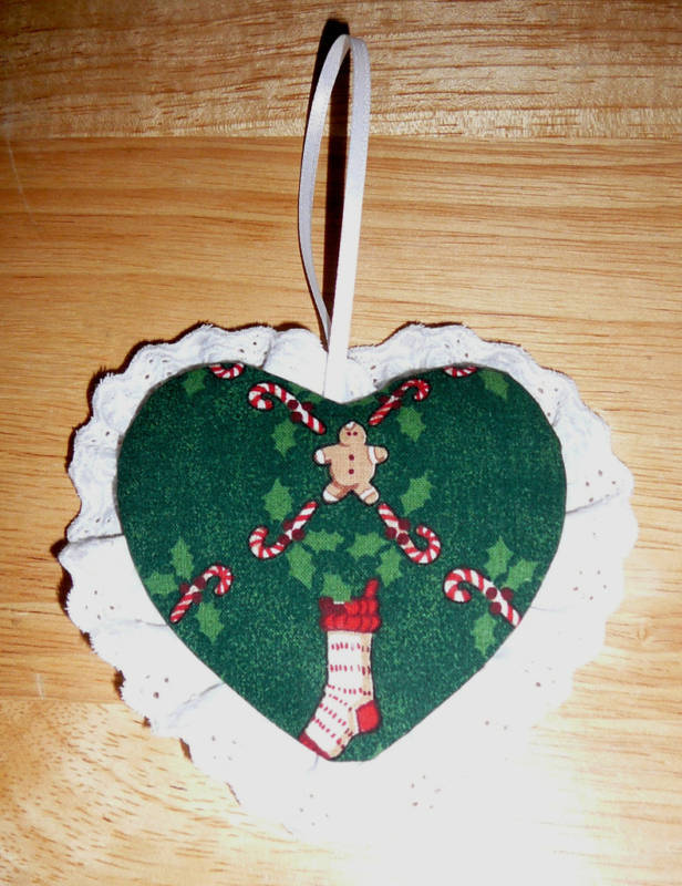 ORNAMENTS~Fabric & Eyelet & Ribbon~Handcrafted~NEW~FREE SHIP