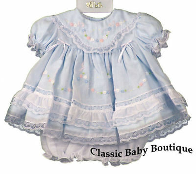 Will'beth Blue Heirloom Lace 2pc Dress Preemie Bloomers Baby Girls Boutique