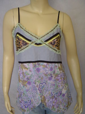 Mechant Purple Multi Leopard Floral Camisole Top L