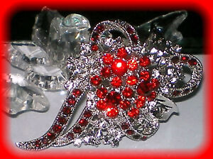 WEDDING-PROM-FLOWER-PIN-BROOCH-RED-SWAROVSKI-CRYSTAL