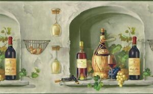 Wine bottles glass grape wallpaper border mural tm75063 for Home decor 75063