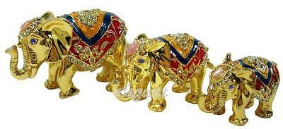 3 Gold Elephant Group Crystals Jewelry Trinket Ring Box