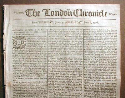Original 1779 American Revolutionary War newspaper from London ENGLAND
