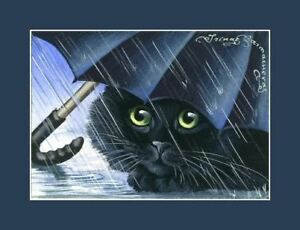 Black-Cat-ACEO-Blue-Umbrella-Print-By-I-Garmashova