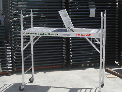 Two Aluminum Scaffold Rolling Tower With Aluminum Hatch Deck U Locks Cbmscaffold