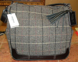 EQUIPAGE PARIS GRAY TWEED BLACK LEATHER BAG FASHION!!!