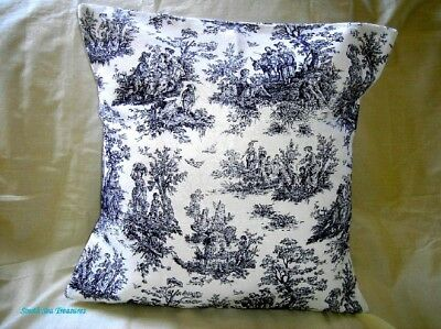 Pillow Cover - Waverly Blue And Off White Rustic Life Toile Handmade
