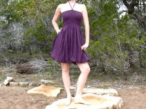 Cotton-Bubble-Hem-Dress-60s-Balloon-Summer-Gypsy-Purple