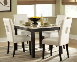 5PC ARCHSTONE FAUX MARBLE BLACK WOOD DINING TABLE SET EBay