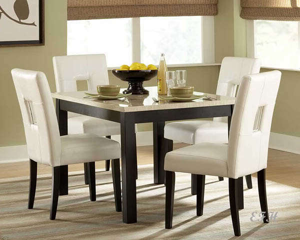 Lovely 5PC ARCHSTONE FAUX MARBLE BLACK WOOD DINING TABLE SET