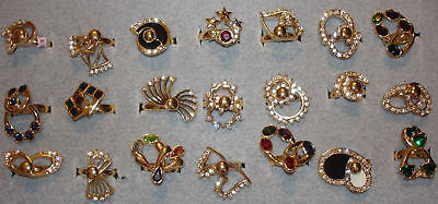 12 Ladies' Vintage Dac 18kt. Gold Overlay Double Swinger Motion Rings In 6 & 7