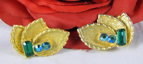 Vintage BSK Rhinestone Leaf Clip on Earrings CAT RESCUE