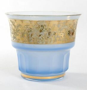 Bohemian-Art-Deco-Blue-Gilt-Glass-Classical-Etched-Vase