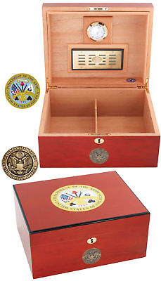 AMERICAN EMBLEMS 50 CIGAR OFFICIAL U.S. ARMY HUMIDOR - BRAND NEW IN BOX!