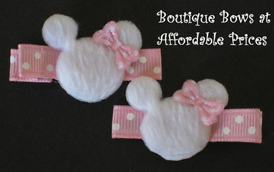 2 Boutique Toddler Girl Hair Clip Bow PINK MINNIE MOUSE, used for sale  Shipping to India