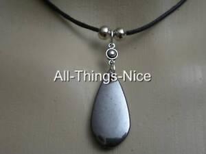 HEMATITE-Gemstone-30mm-TEAR-DROP-Black-Goth-Pendant-Necklace-Jewellery