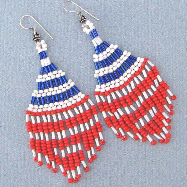 Blue White Red Beads Native American Inspired American Patriotic Beaded Earrings