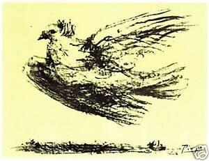PABLO-PICASSO-LITHOGRAPH-SIGNED-1964-w-COA-unique-item-gift-Dove-Icon-RARE-ART