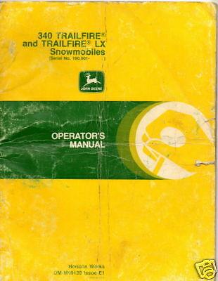 JOHN DEERE SNOWMOBILE TRAILFIRE & LX OPERATORS MANUAL