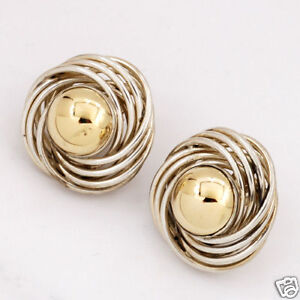 Fancy-Elegant-14K-Gold-and-Sterling-2-Tone-Love-Knot-Post-Earrings-by-PBD