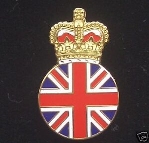 UNION JACK & ROYAL CROWN ENAMEL LAPEL PIN BADGE