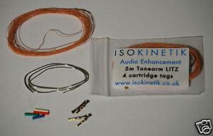 Litz tonearm rewire kit 5m with cartridge tags / clips