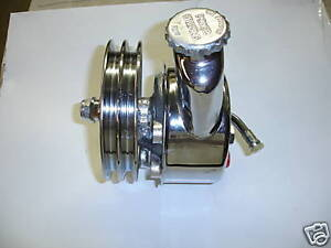 GM-POWER-STEERING-PUMP-W-RESERVIOR-AND-PULLEY-CHROME