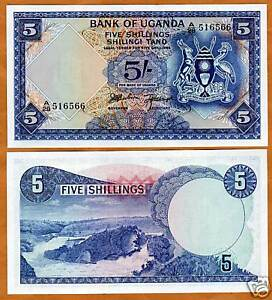 Uganda-5-Shillings-ND-1966-P-1-UNC-gt-First-Banknote