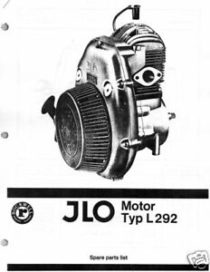 VINTAGE JLO TYP L 292 SNOWMOBILE ENGINE PARTS MANUAL
