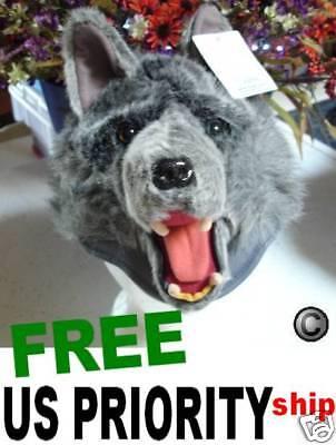 GRAY WOLF HAT Sled US SELLER animal COSTUME wolfie monster mascot cap silver fox