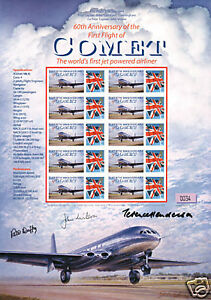 GENUINE-AUTOGRAPH-X3-COMET-PILOT-1ST-FLIGHT-STAMP-SHEET
