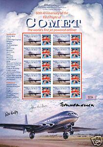 GENUINE-AUTOGRAPH-X3-COMET-PILOT-1ST-FLIGHT-STAMP-SHEET
