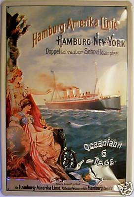 Dampfschiff Hamburg - New York Blechschild Schild Blech Tin Sign 20 x 30 cm online kaufen