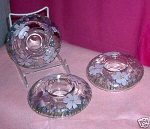 FLORAL-PAINTED-CLEAR-GLASS-CANDLE-TEA-LIGHT-HOLDERS-SET