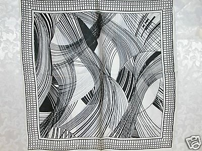 100% Charmeuse Silk Scarf Bandana Black White Art