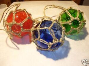 "(3) - 3"" Glass Fishing Floats ~ Fish Net Buoy Decor ~ Nautical"