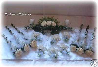 Tischdeko Set Tischdekoration XXL Kommunion  Hochzeit creme weiß  Konfirmation