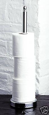 CHROME LOO TOILET ROLL PAPER STORER HOLDER FREE STAND SPIKE BATH ROOM FLOOR 9074