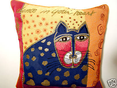 Laurel Burch Azul Feline Blue Feline Cat Decorative Throw Tapestry Pillow New