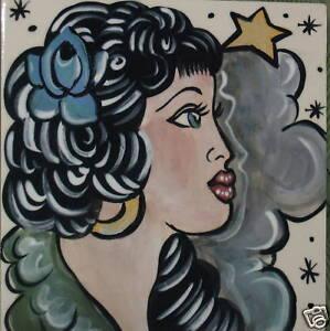 Details about Vintage tattoo sailor ceramic TILE GYPSY Girl trivetVintage Gypsy Tattoo