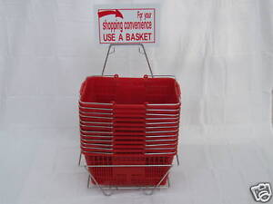 SET OF 12 WIRE HANDLE SHOPPING BASKET WITH STAND & SIGN