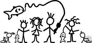 Fishing Family Stick Figures Rear Car Window Decal Ebay