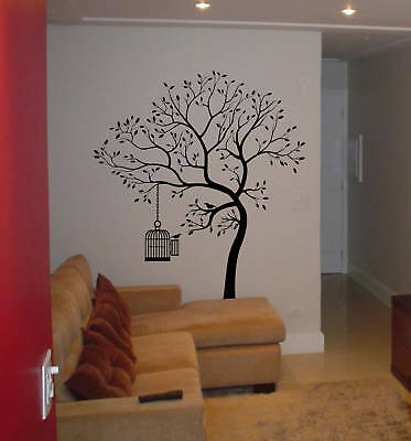 Wall decal big tree bird w cage deco art sticker mural ebay for Big tree with bird wall decal deco art sticker mural