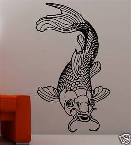 Stunning koi carp fish wall art sticker vinyl bathroom ebay for Koi metal wall art