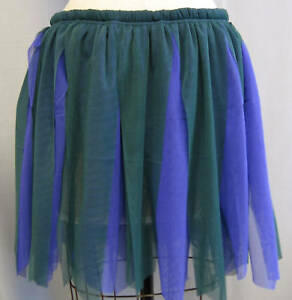 FUNKY-GREEN-PURPL-MESH-DISTRESSED-SKIRT-DANCE-COSTUME-2-Size-M